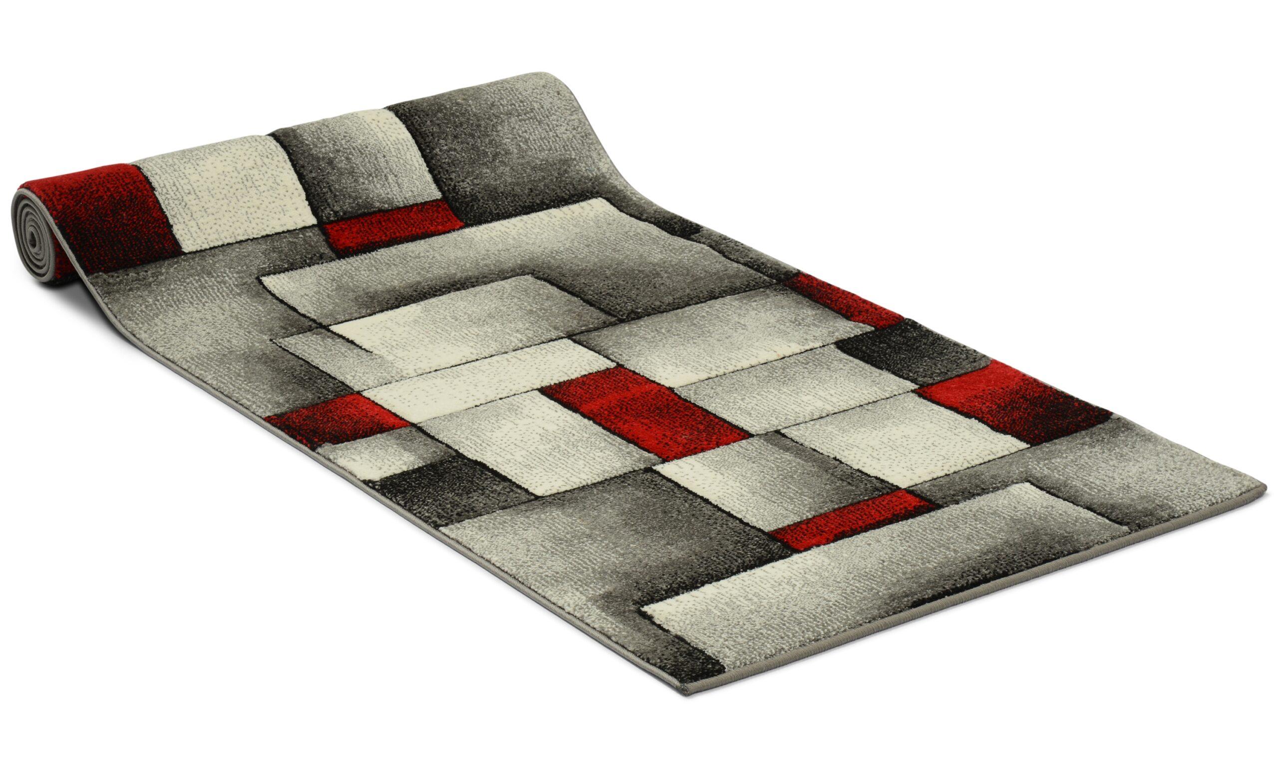 Brilliance grå/rød - dørmatte på metervare