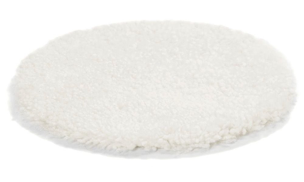 Krøllete rund stolpute i saueskinn - hvit