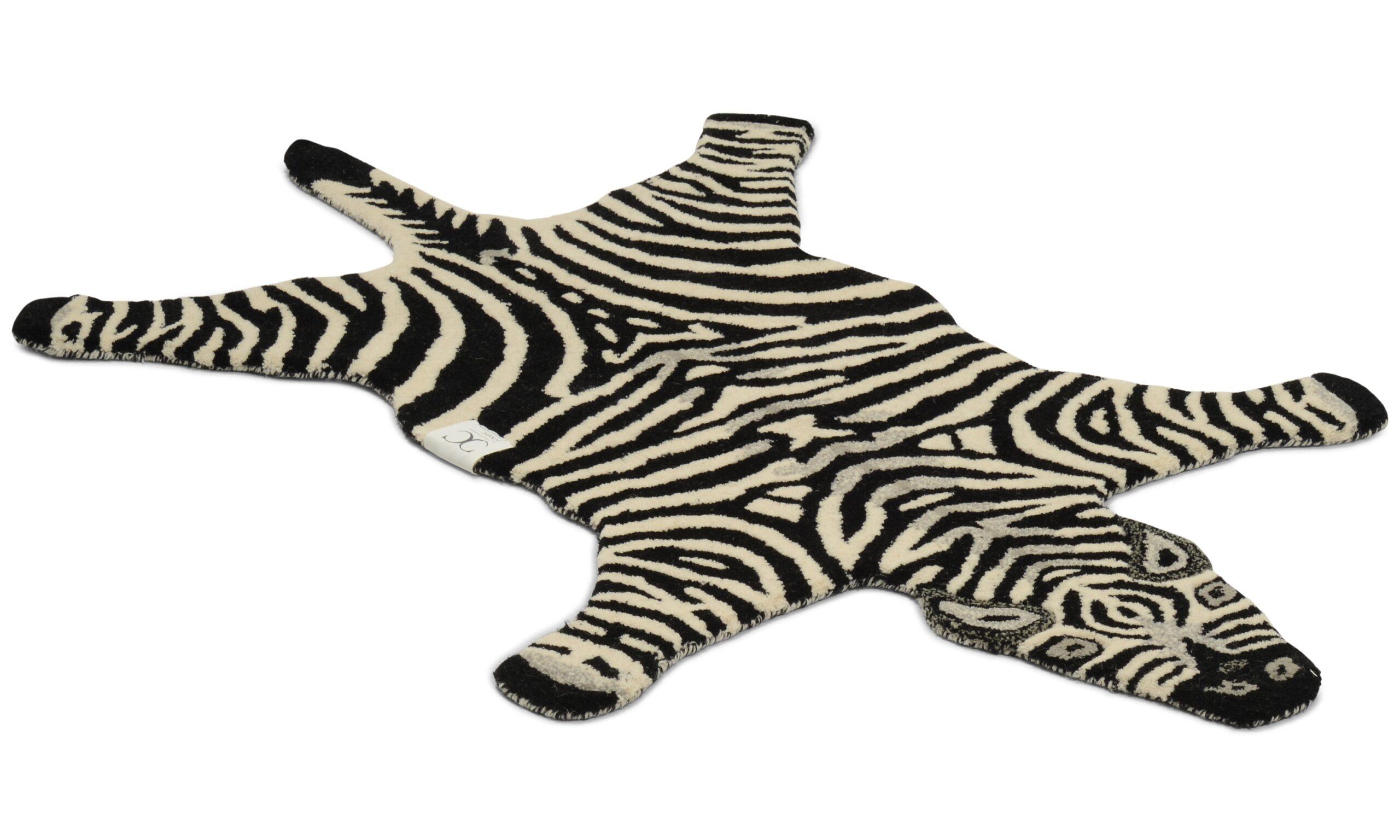 Zebra svart/hvit - håndtuftet teppe