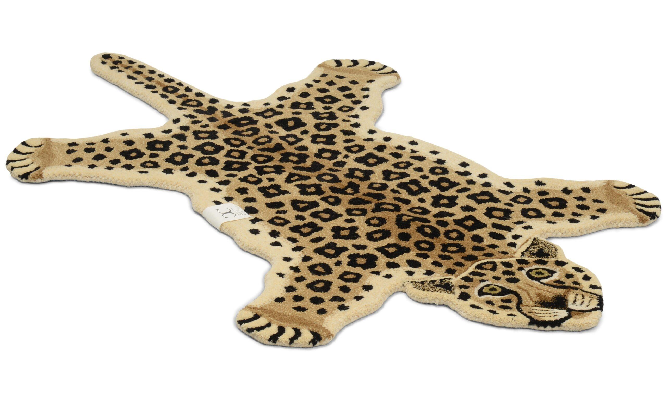 Leopard naturell - håndtuftet teppe