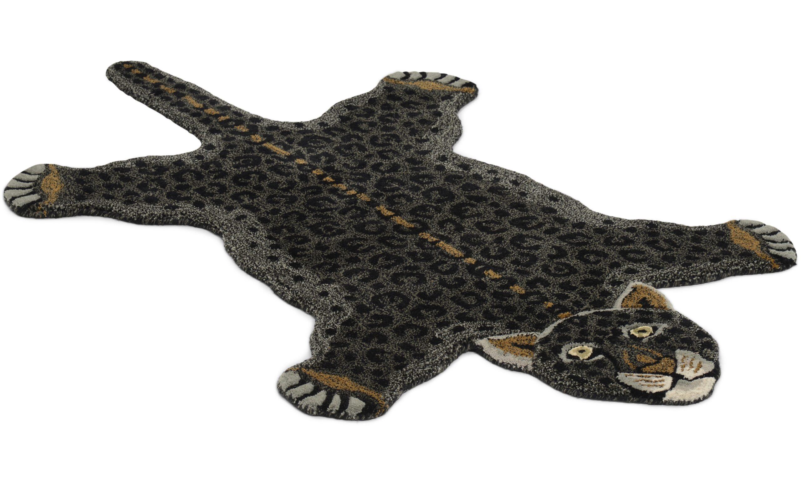 Leopard svart - håndtuftet teppe