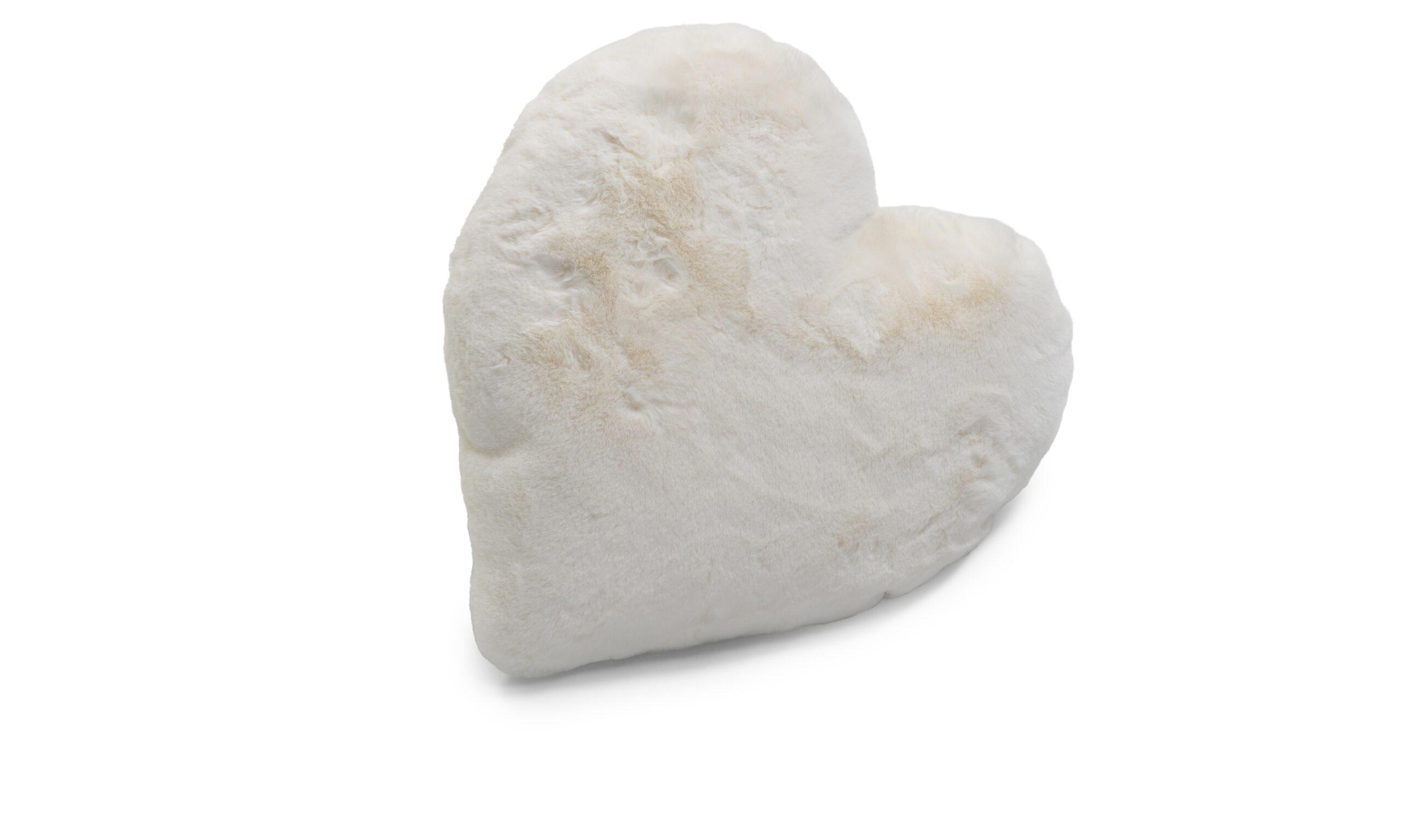 Fluffy heart ivory - pute av syntetisk materiale