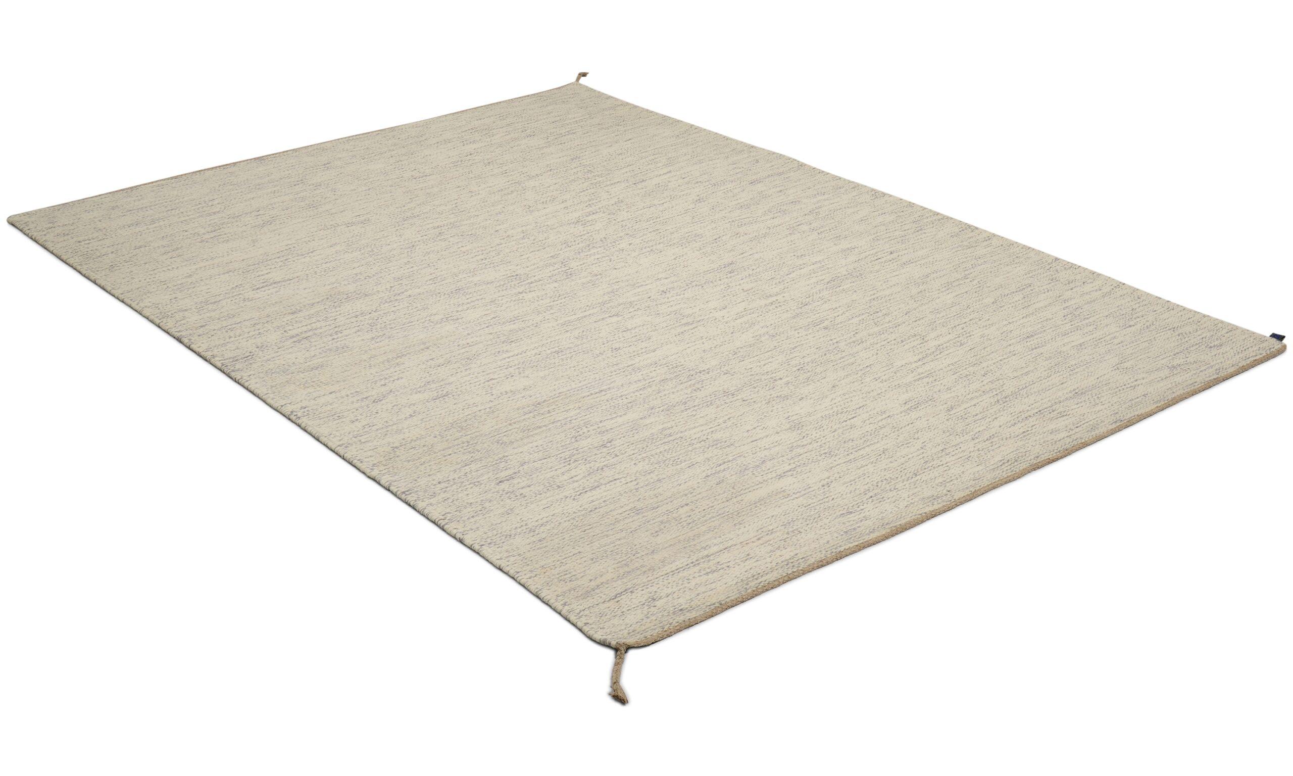 Sofiero hvit/grå - håndvevd ullteppe