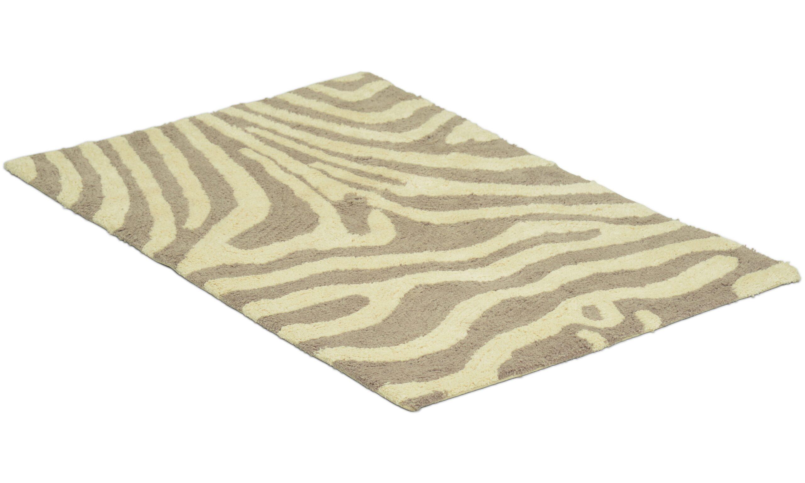 Zebra simply taupe/hvit - baderomsmatte