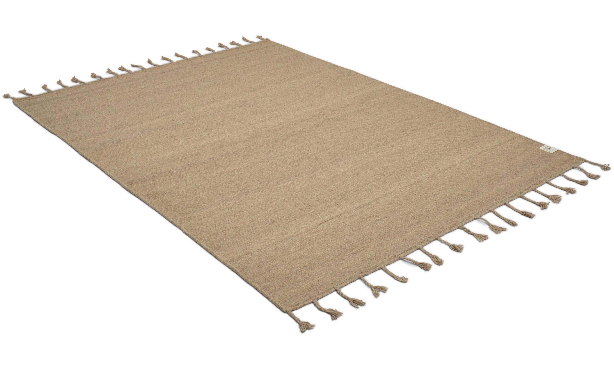Plain beige - håndvevd ullteppe