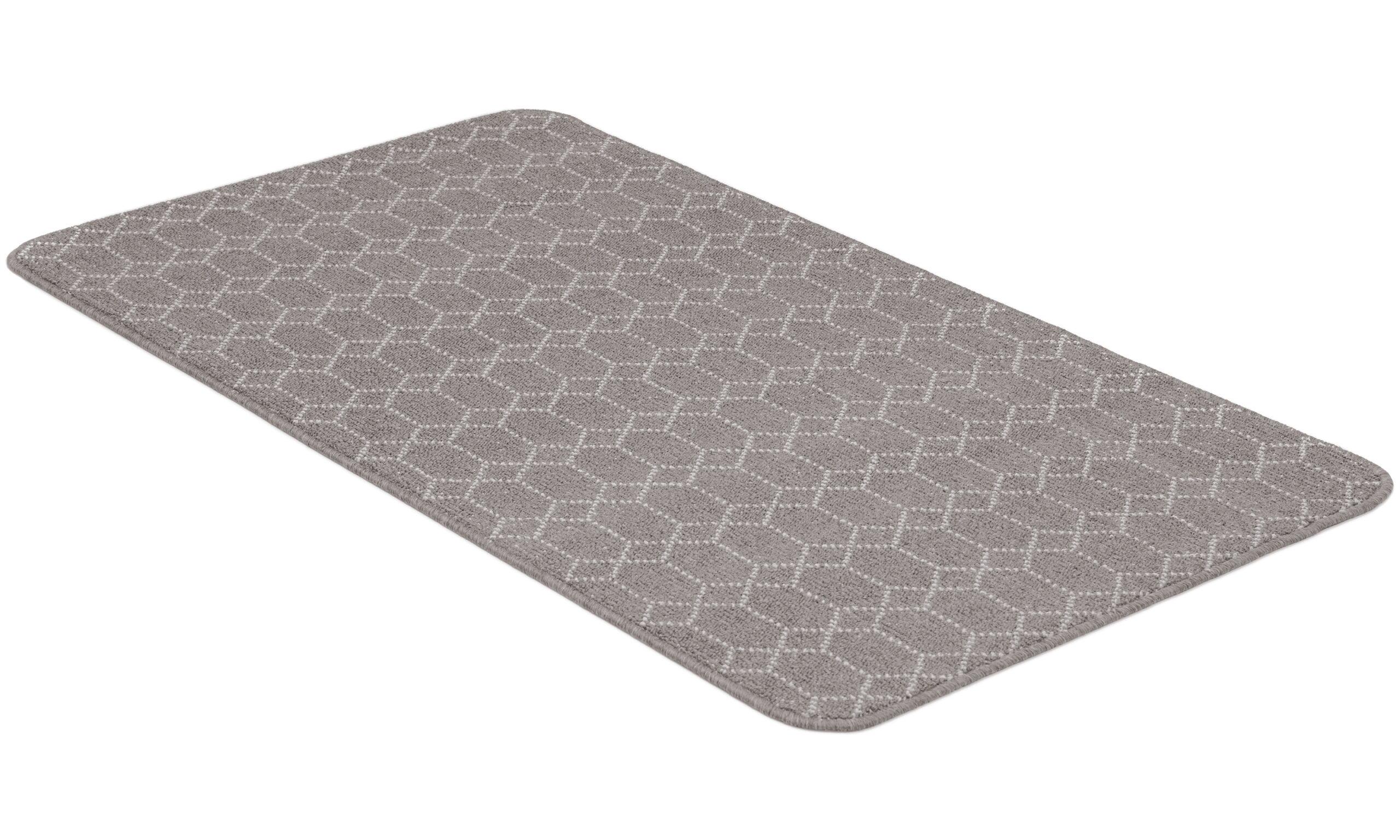 Naxos lysegrå - teppe med gummibakside