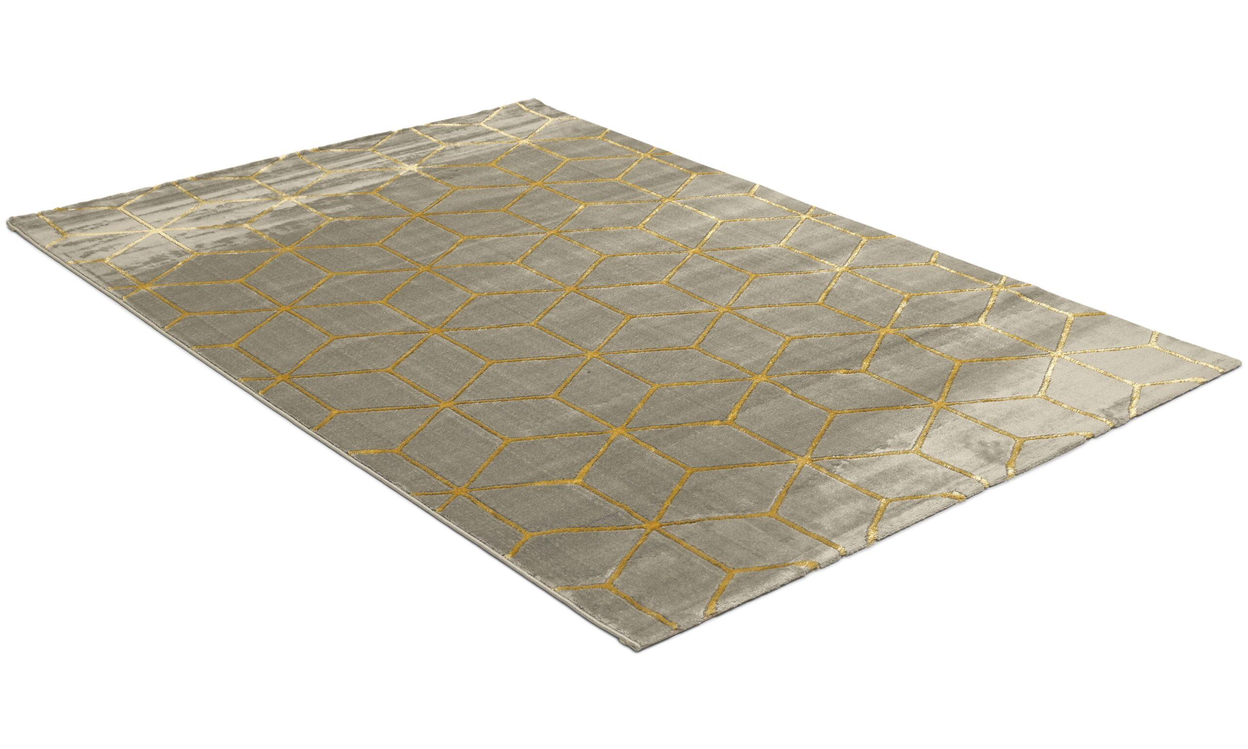 Diamond Cube antrasitt/gull - maskinvevd teppe