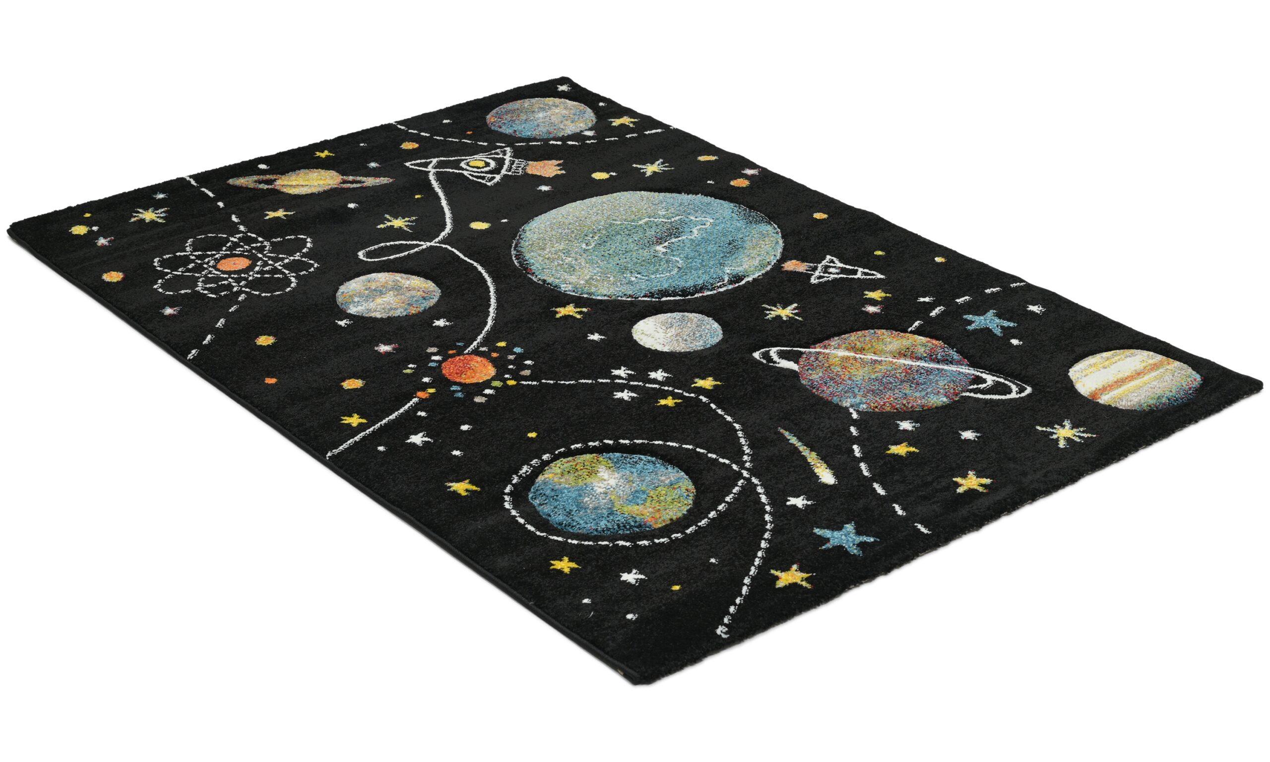 Atlas Space svart - barneteppe