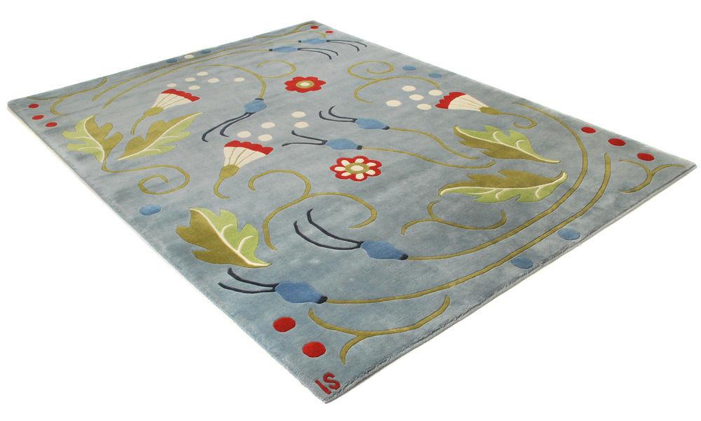 Vika blå - Håndknyttet teppe