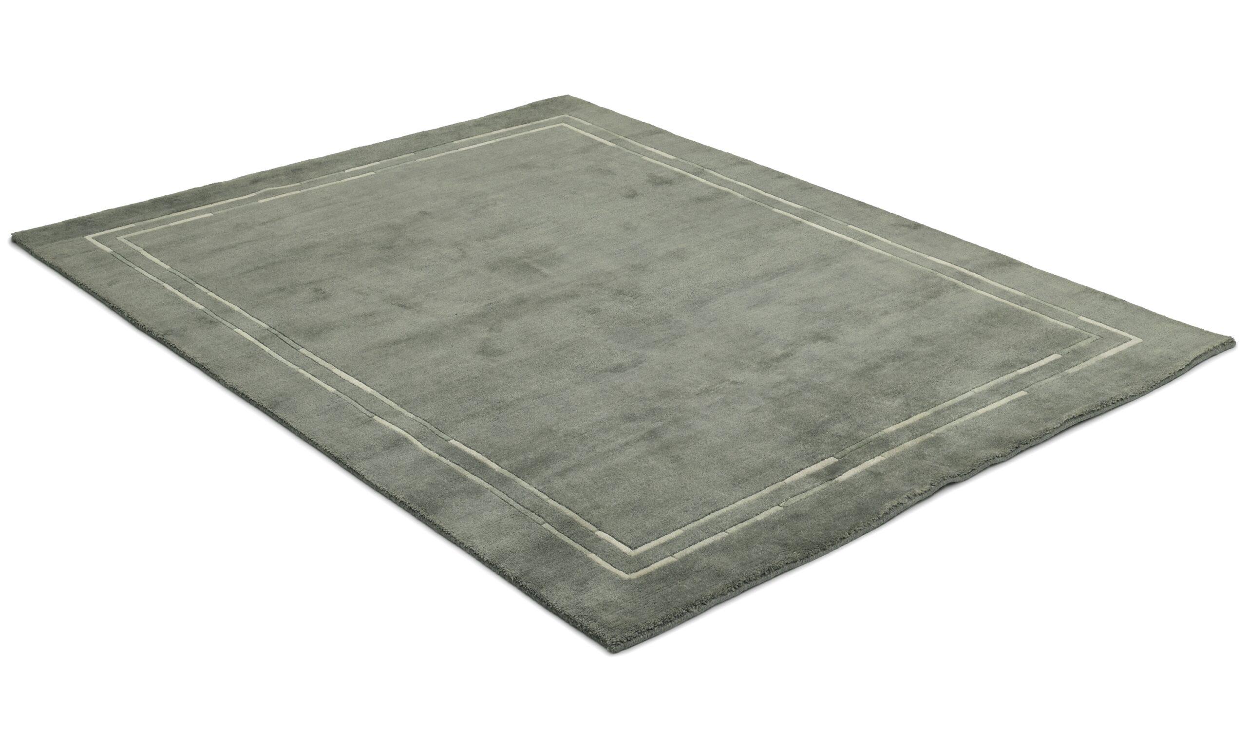 Lines mørk grå - håndknyttet teppe