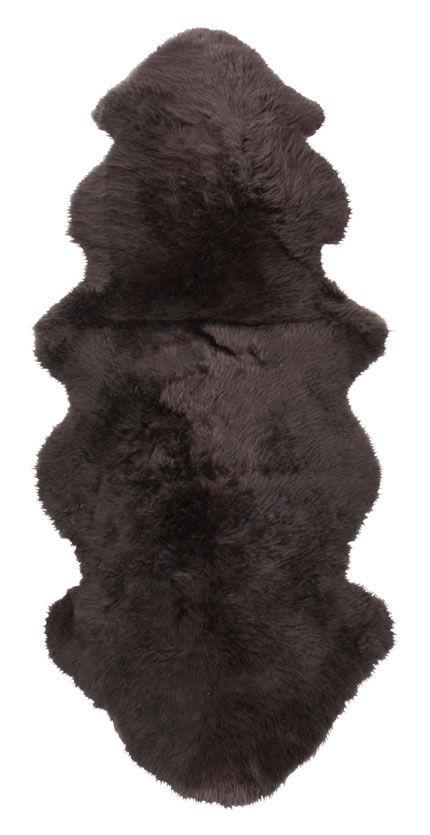 Dobbelt langhåret saueskinn - 10288 mørkbrunt