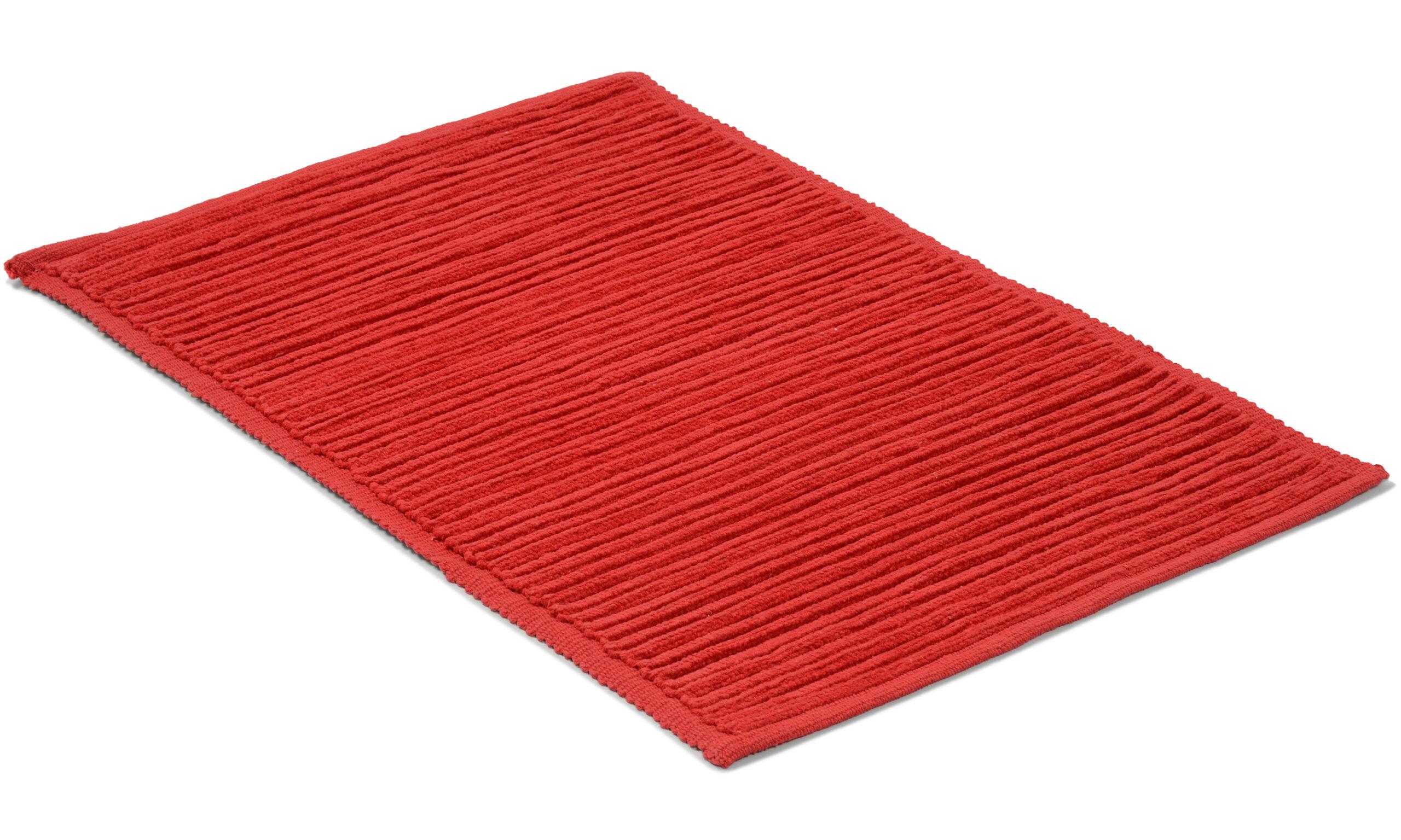 Ribb rød - baderomsteppe