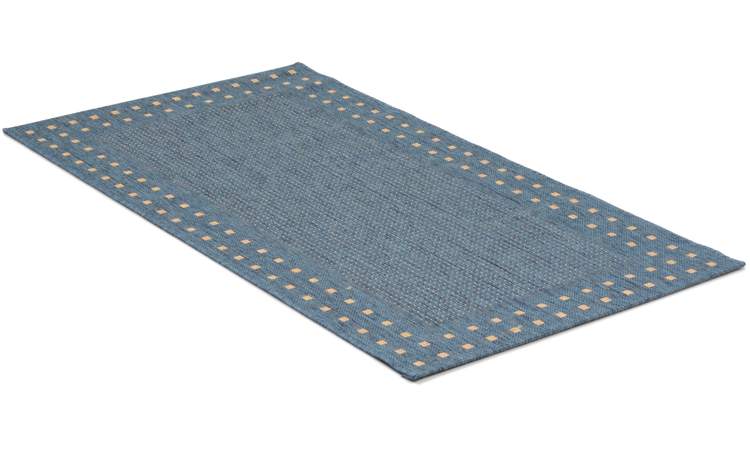 Rut blå - flatvevd teppe