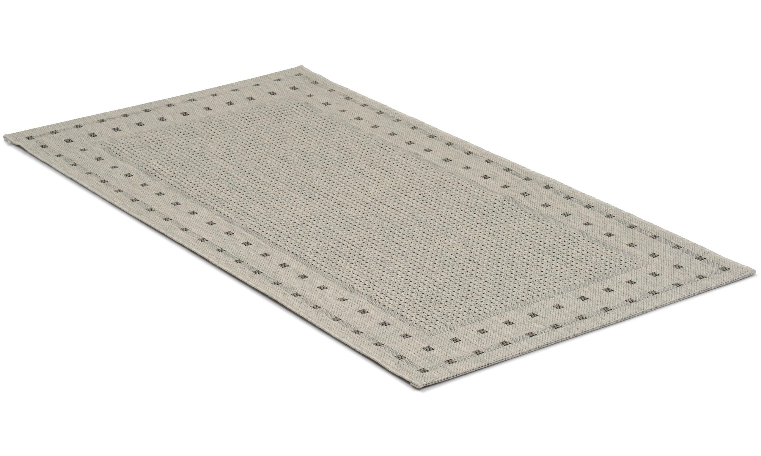 Rut lysegrå - flatvevd teppe