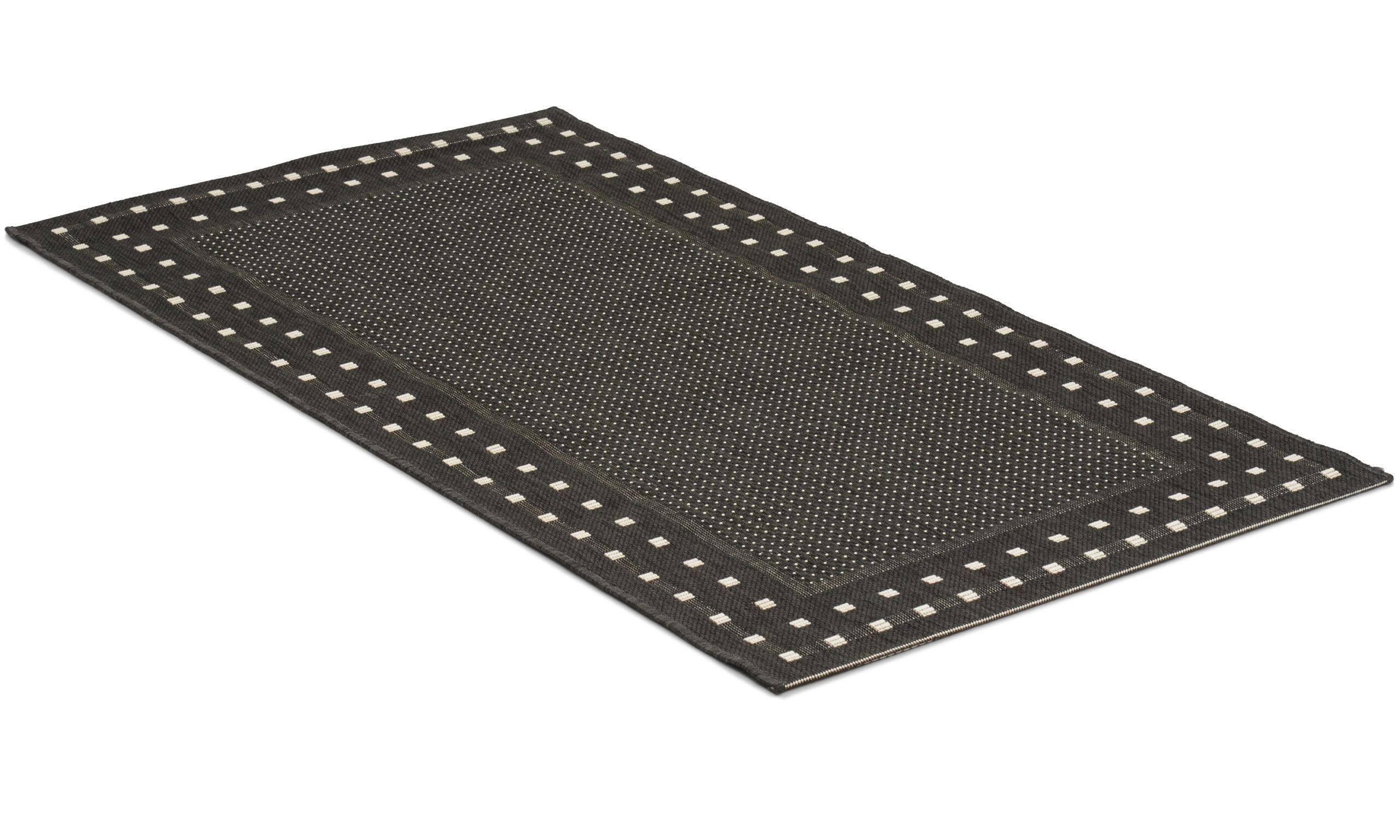 Rut svart - flatvevd teppe