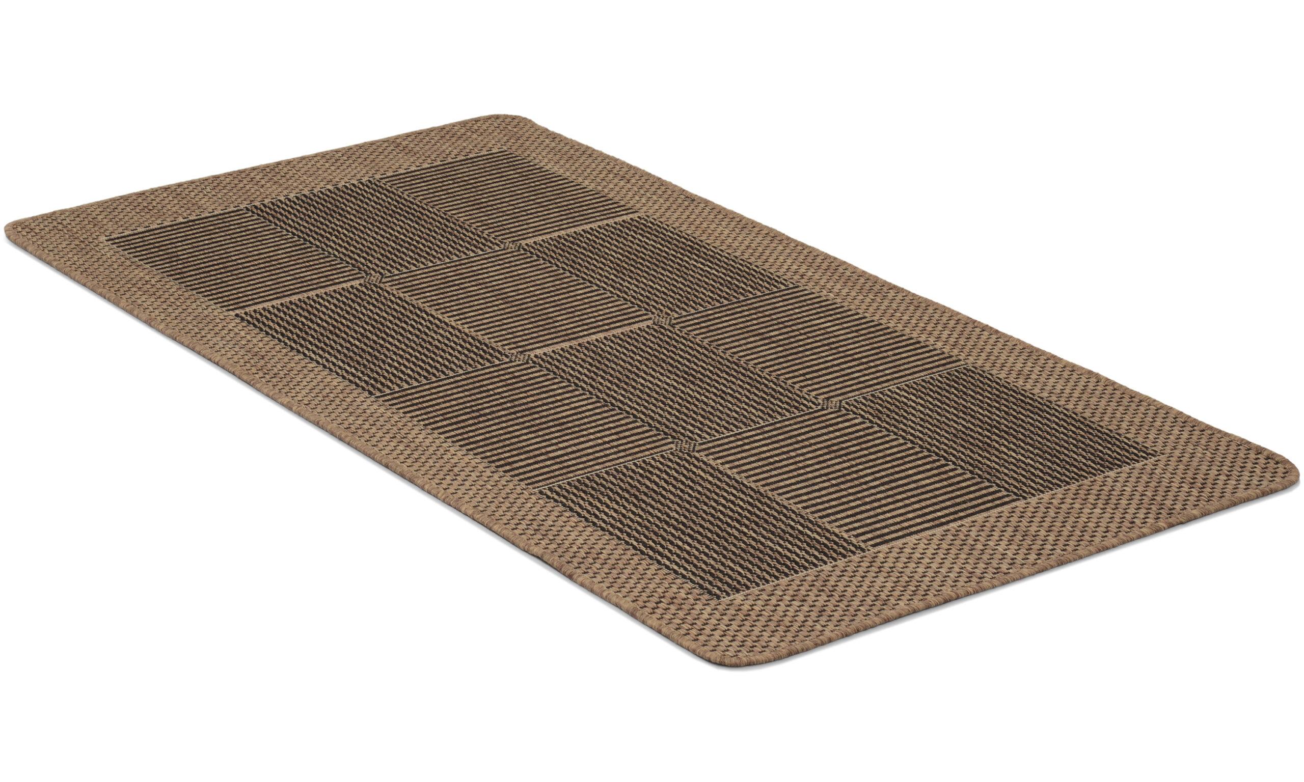 Brick brun - flatvevd teppe med gummibakside