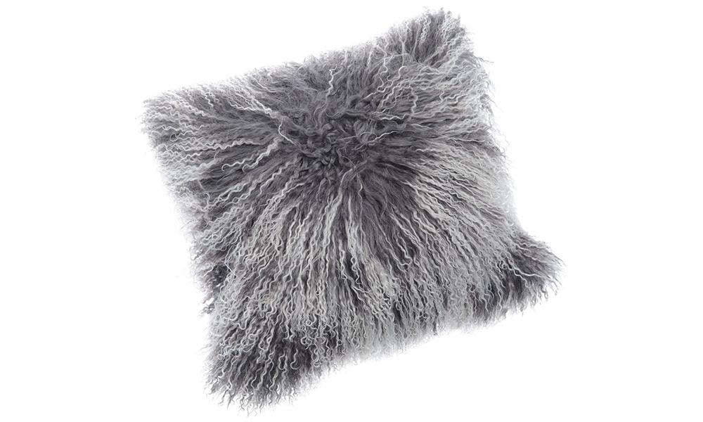 Shansi lammeskinnspute - grå snowtop