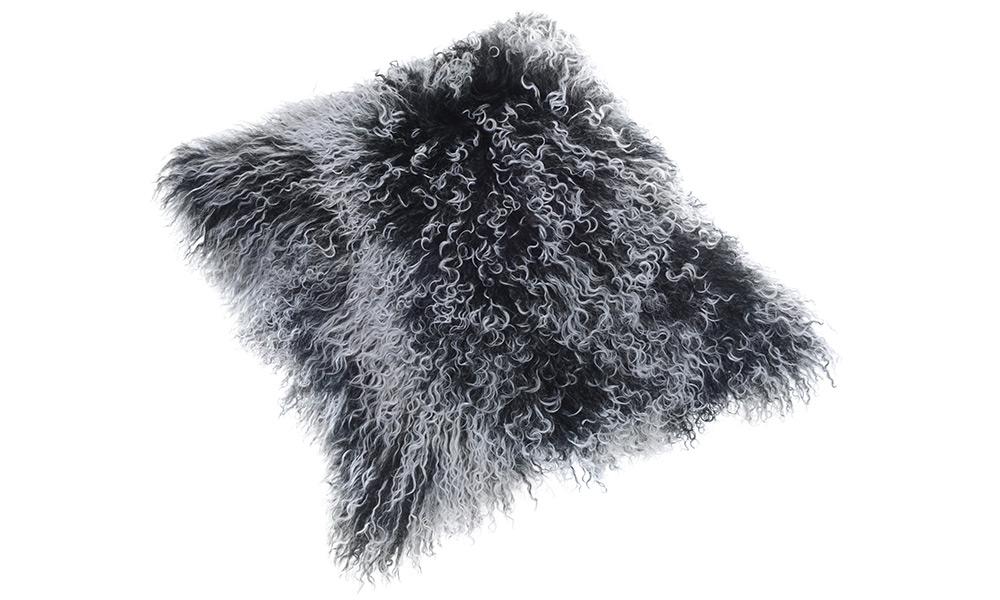 Shansi lammeskinnspute - svart snowtop