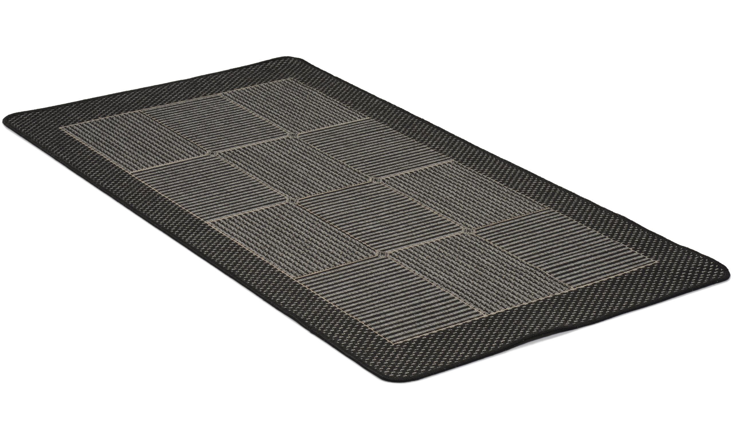 Brick grå - flatvevd teppe med gummibakside