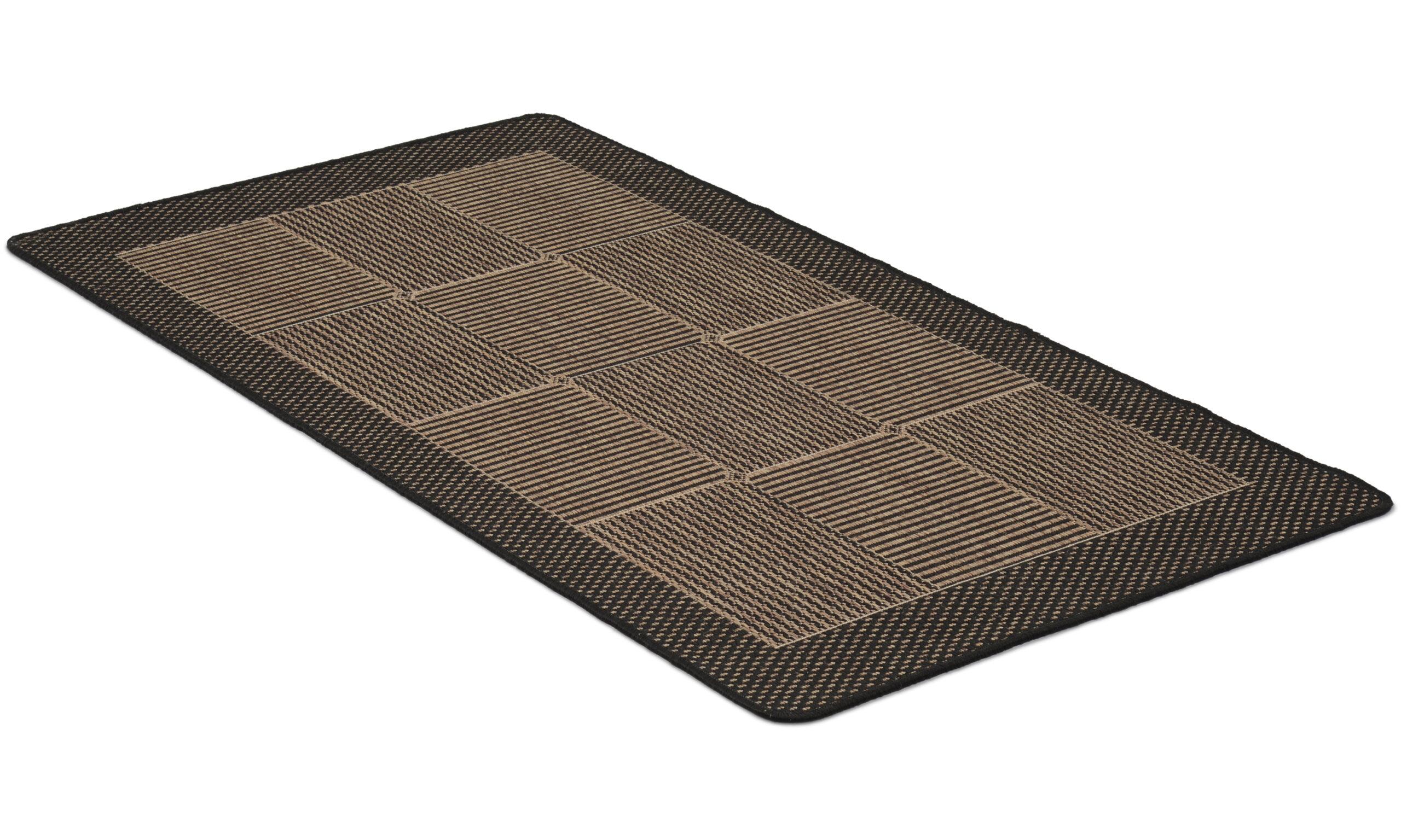 Brick svart - flatvevd teppe med gummibakside