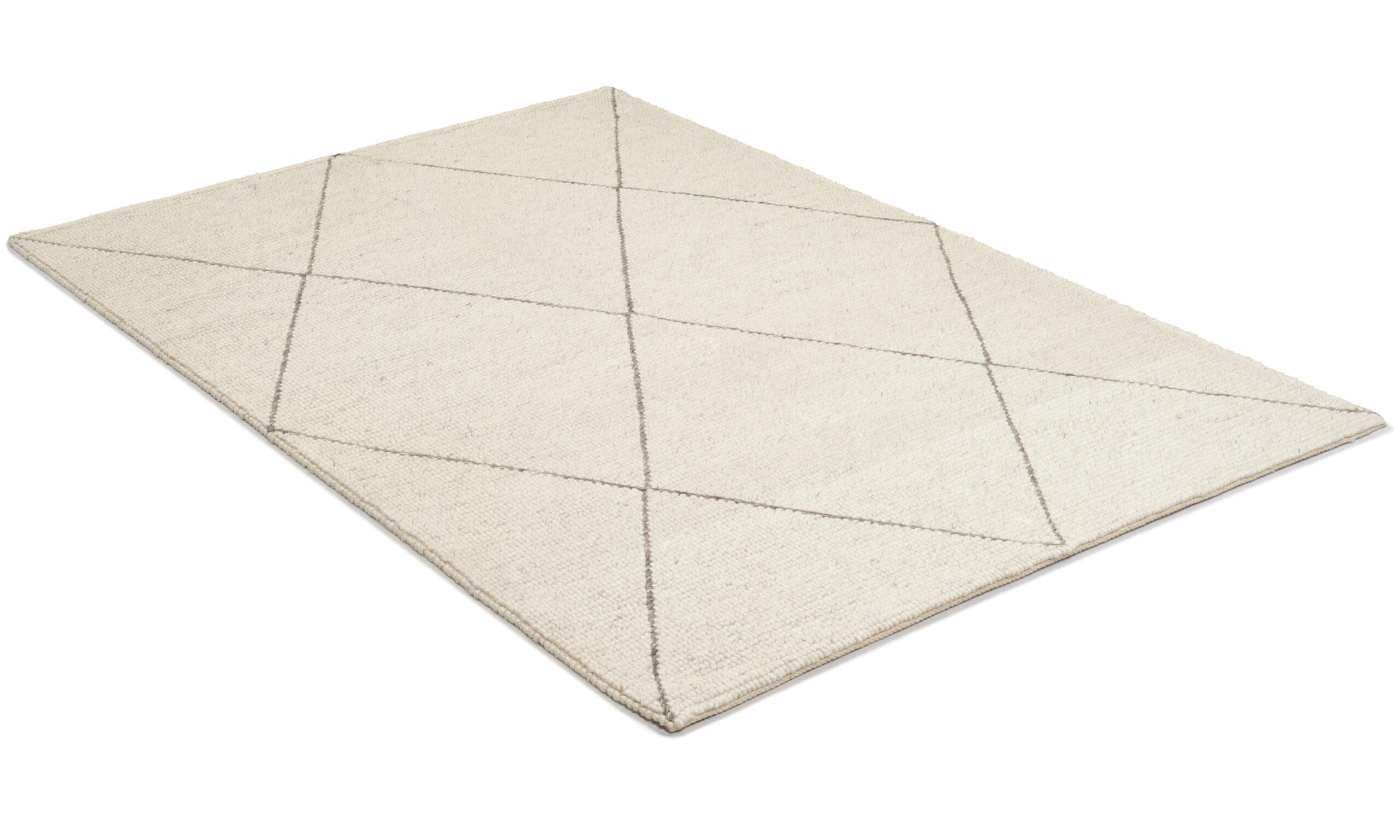 Casablanca hvit/grå - håndvevd ullteppe