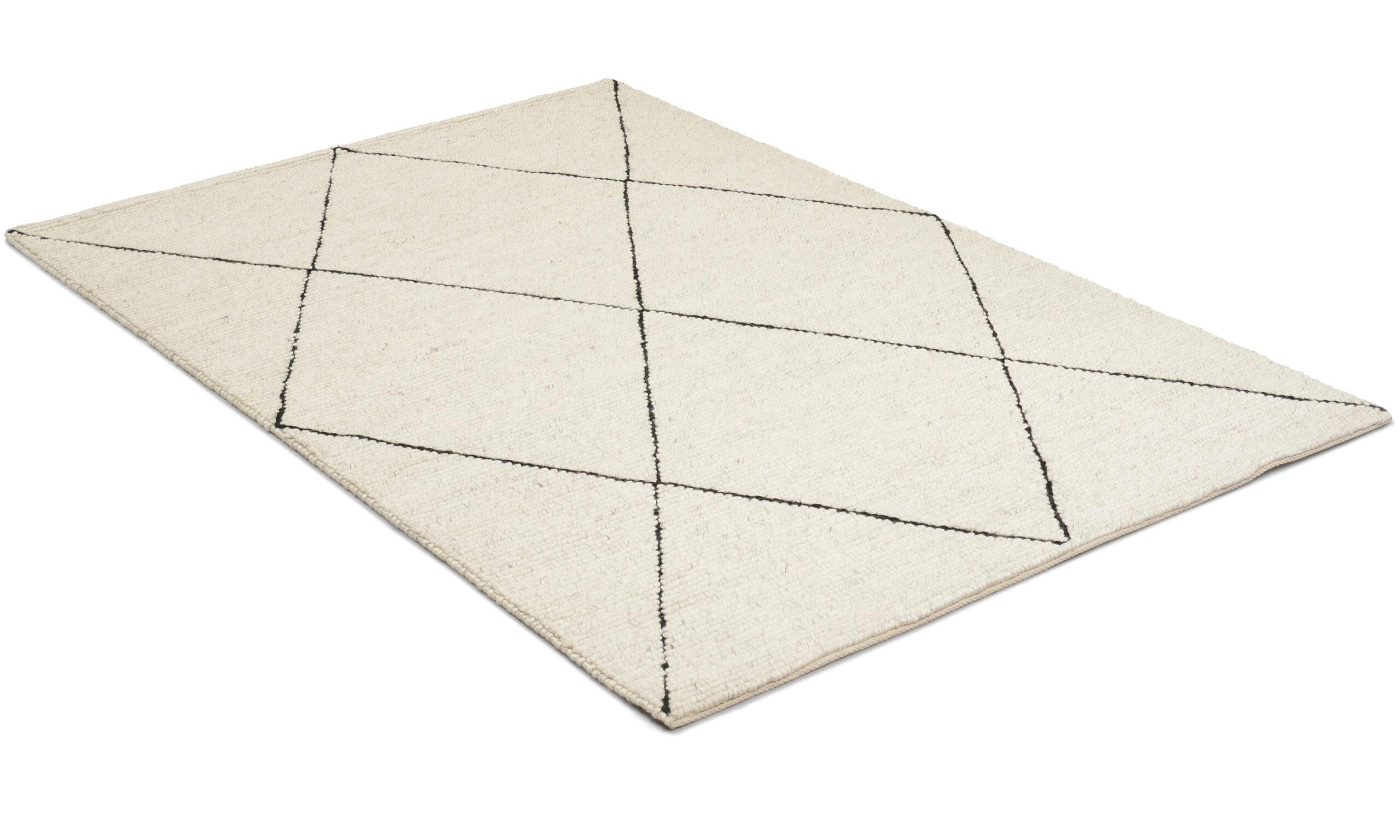 Casablanca hvit/svart - håndvevd ullteppe